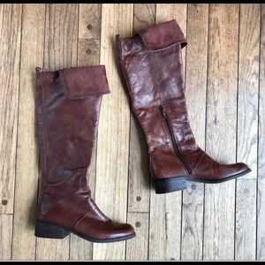 Nine West Brown Leather Foldover Riding Boots